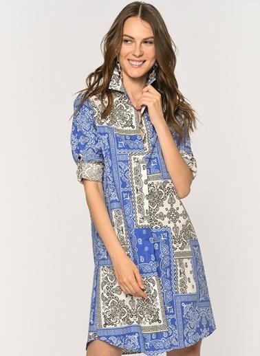 Loves You Patcwork Desen Poplin Gömlek Elbise Mavi